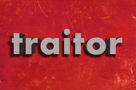 traitor: gray word on red wall