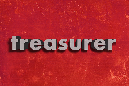 treasurer: gray word on red wall