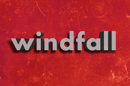 windfall: gray word on red wall