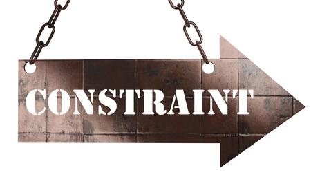 constraint: word on copper arrow Stock Photo