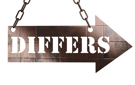 differs: word on copper arrow Stock Photo