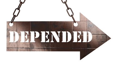 depended: word on copper arrow Stock Photo
