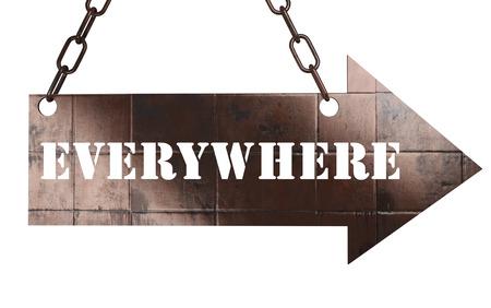 everywhere: word on copper arrow Stock Photo