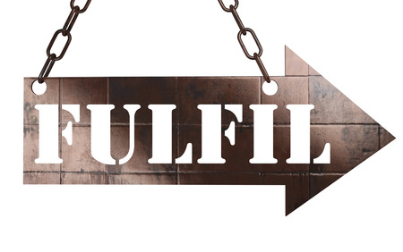 fulfil: word on copper arrow Stock Photo