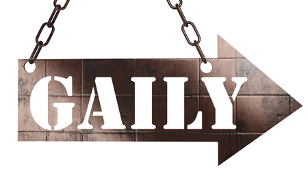 gaily: word on copper arrow Stock Photo