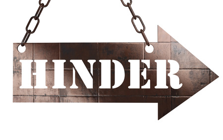 hinder: word on copper arrow Stock Photo