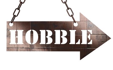 hobble: word on copper arrow Stock Photo