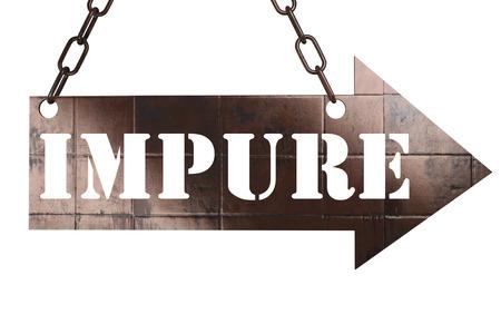 impure: word on copper arrow Stock Photo
