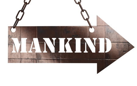 mankind: word on copper arrow Stock Photo