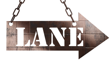 one lane sign: word on copper arrow Stock Photo