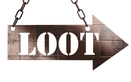 loot: word on copper arrow Stock Photo