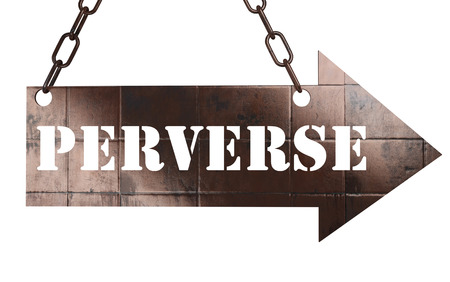 perverse: word on copper arrow Stock Photo