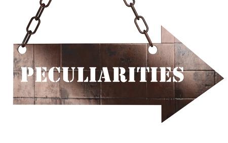 peculiarities: word on copper arrow Stock Photo