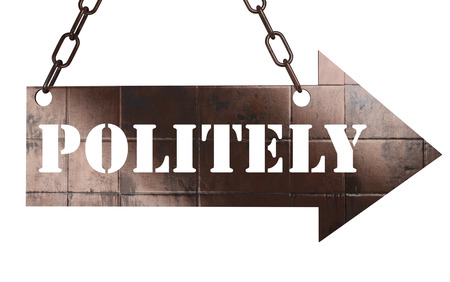 politely: word on copper arrow Stock Photo
