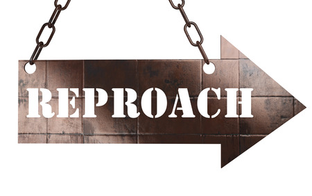reproach: word on copper arrow Stock Photo