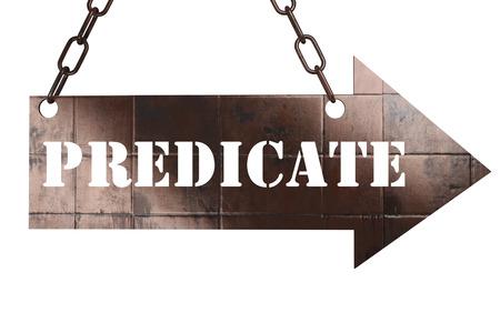 predicate: word on copper arrow Stock Photo