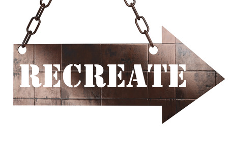 recreate: word on copper arrow Stock Photo