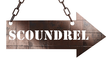 scoundrel: word on copper arrow Stock Photo