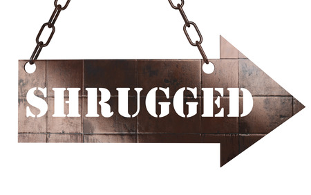shrugged: word on copper arrow Stock Photo