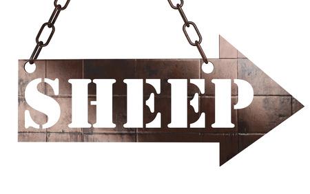 sheep warning: word on copper arrow Stock Photo