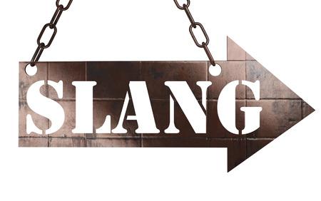 slang: word on copper arrow Stock Photo