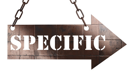 specific: word on copper arrow Stock Photo