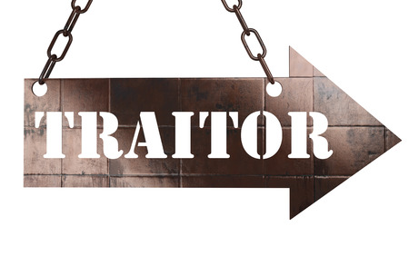 traitor: word on copper arrow Stock Photo