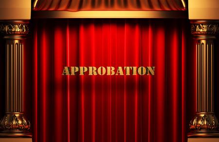 approbation: golden word on red velvet curtain