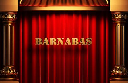 barnabas: golden word on red velvet curtain