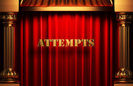 attempts: golden word on red velvet curtain