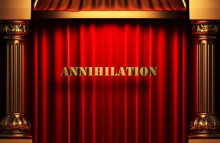 annihilation: golden word on red velvet curtain