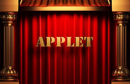 applet: golden word on red velvet curtain