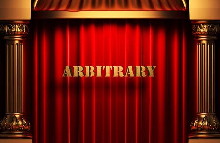 arbitrario: palabra de oro en la cortina de terciopelo rojo Foto de archivo