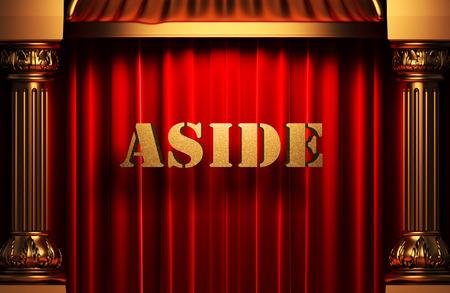 aside: golden word on red velvet curtain
