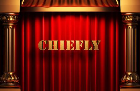 chiefly: golden word on red velvet curtain