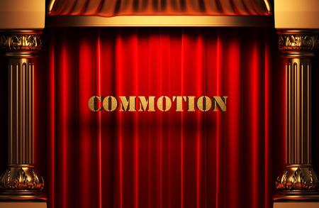 commotion: golden word on red velvet curtain