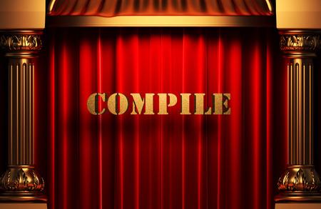 compile: golden word on red velvet curtain