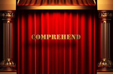 comprehend: golden word on red velvet curtain
