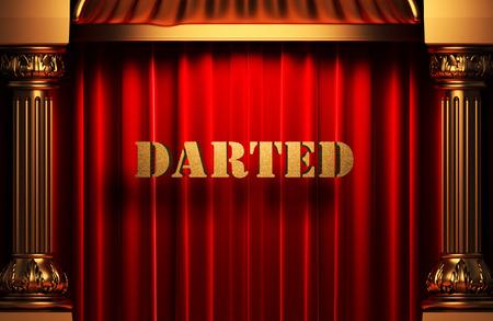 darted: golden word on red velvet curtain