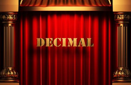 decimal: golden word on red velvet curtain