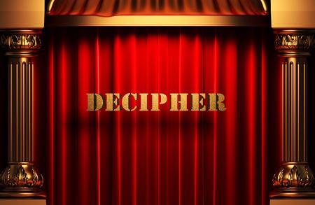 decipher: golden word on red velvet curtain