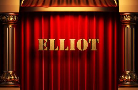 elliot: golden word on red velvet curtain