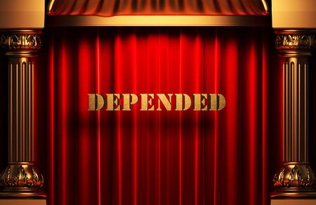 depended: golden word on red velvet curtain