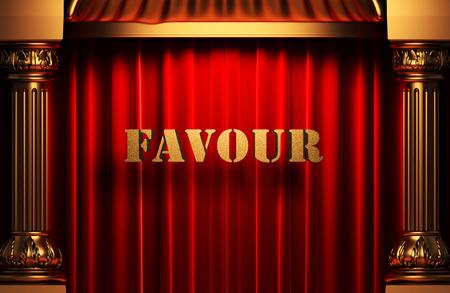favour: golden word on red velvet curtain