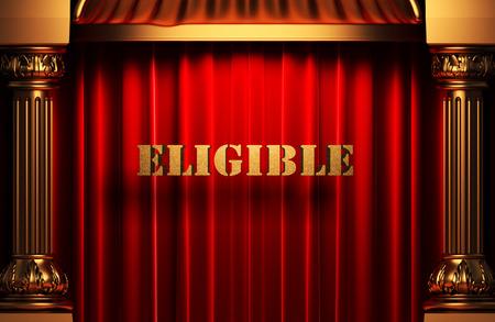 eligible: golden word on red velvet curtain
