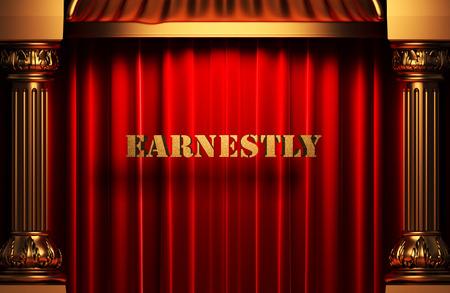 earnestly: golden word on red velvet curtain
