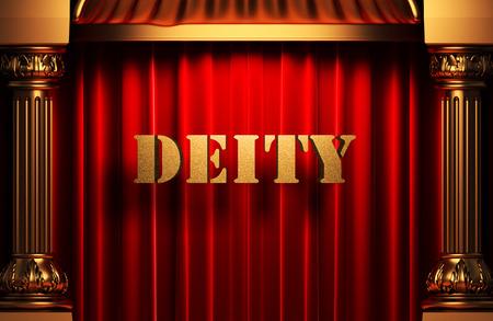 act of god: golden word on red velvet curtain