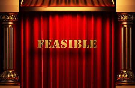 feasible: golden word on red velvet curtain
