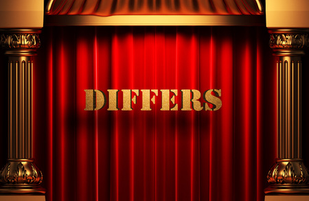 differs: golden word on red velvet curtain