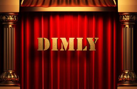 dimly: golden word on red velvet curtain